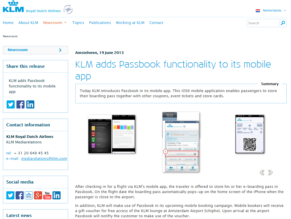 KLM adds passbook functionality